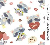 vector raccoon with heart set | Shutterstock .eps vector #541732918