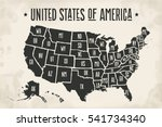 poster map of united states of... | Shutterstock .eps vector #541734340