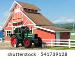 Green Tractor And Red Barn Wit...