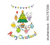 merry christmas greeting card... | Shutterstock . vector #541757200