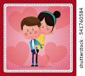 funny couple lovely pink hearts ... | Shutterstock .eps vector #541760584