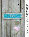 Rustic Wood Teal Blue Welcome...