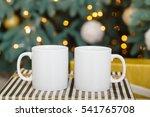 two white blank mug on striped... | Shutterstock . vector #541765708