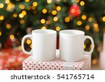 two white blank mug on dotted... | Shutterstock . vector #541765714