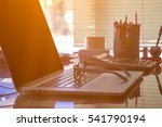 office desk with laptop optical ... | Shutterstock . vector #541790194
