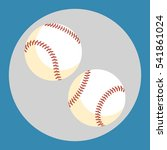 Baseball Ball Icon. Two White...