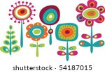 Stock vector cute colorful flowers childish vector illustration 54187015