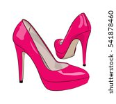 Pink Female Shoes On A White...