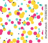 Messy Colorful Dots On White...