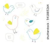 funny birds set  colored birds. ... | Shutterstock .eps vector #541885264