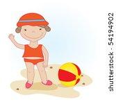 cute little girl with beach ball | Shutterstock .eps vector #54194902