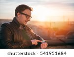 man wearing leather jacket... | Shutterstock . vector #541951684