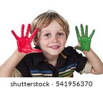 cute young boy playing with... | Shutterstock . vector #541956370