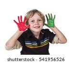 cute young boy playing with... | Shutterstock . vector #541956526