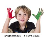 cute young boy playing with... | Shutterstock . vector #541956538