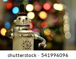 Small photo of Snazzy and Silly Steam Punk Snowman Robot Ready to Shake Up Christmas