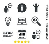 byod icons. human with notebook ... | Shutterstock . vector #542011018