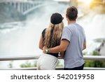 happy tourist couple enjoying... | Shutterstock . vector #542019958