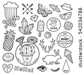black and white fashion patch... | Shutterstock .eps vector #542036788