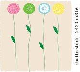 colorful flower stems of green... | Shutterstock .eps vector #542055316