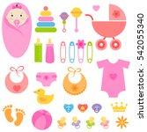 set of baby girl elements.... | Shutterstock . vector #542055340