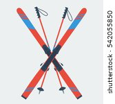 vector icon pair of red skis... | Shutterstock .eps vector #542055850