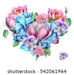 flower heart from different... | Shutterstock . vector #542061964