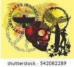 surf skull and black eagle... | Shutterstock .eps vector #542082289