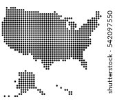 usa map made of round dots ... | Shutterstock .eps vector #542097550