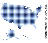 usa map made of round blue dots.... | Shutterstock .eps vector #542097556