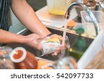 Human Hand Washing Dish Or...