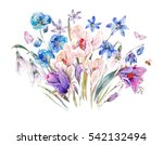 vintage watercolor spring card... | Shutterstock . vector #542132494