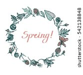 round frame with spring plants. ... | Shutterstock .eps vector #542138848