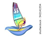 windsurfing water sports on the ... | Shutterstock .eps vector #542141554