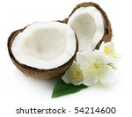 Coconut with flowers - stock photo