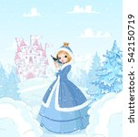 cute princess in the snow ... | Shutterstock .eps vector #542150719