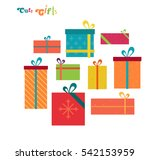 cute gifts flat illustration.... | Shutterstock .eps vector #542153959