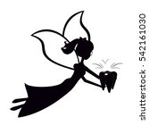 black silhouette fairy flying...