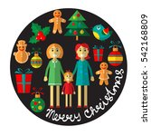 gay woman couple with christmas ... | Shutterstock .eps vector #542168809