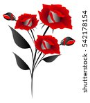 the bouquet of red roses ... | Shutterstock .eps vector #542178154
