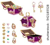 treasure chest with pink... | Shutterstock .eps vector #542185528