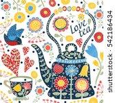 love tea. cute postcard.   Shutterstock .eps vector #542186434