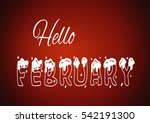 hello february. red background  ... | Shutterstock . vector #542191300