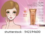 sun protection cream ads.... | Shutterstock .eps vector #542194600