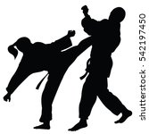 Silhouette Athletes Involved Martial Arts Sparring Stock Vector