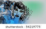 abstract background with girl... | Shutterstock .eps vector #54219775