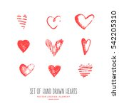 hand drawn hearts. design... | Shutterstock .eps vector #542205310
