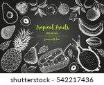 tropical fruits top view frame. ... | Shutterstock .eps vector #542217436