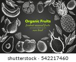 fruits top view frame. farmers... | Shutterstock .eps vector #542217460