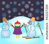 snowman  vector illustration.... | Shutterstock .eps vector #542227204